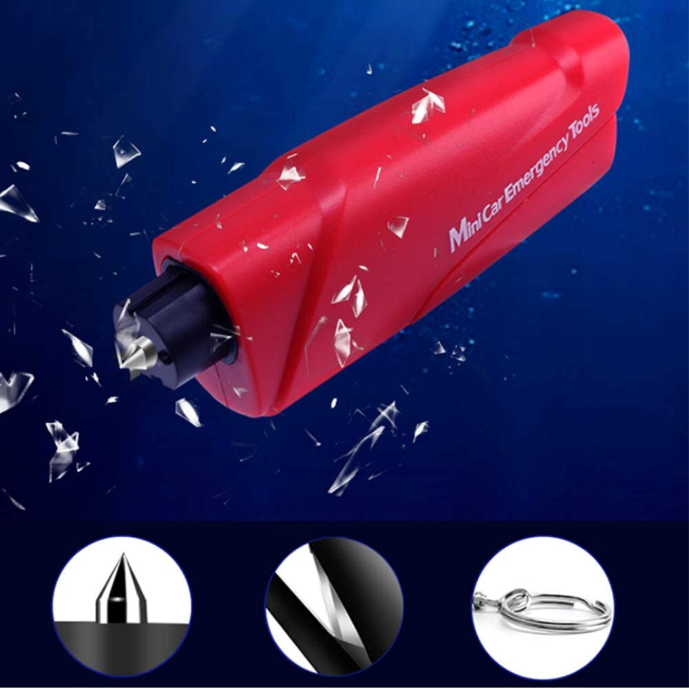Emergency Escape Tool with Portable Keychain Life Saving Kit Underwater(1 Pack) 1 Free Random Panda Accessory Car Escape Tool with Seatbelt Cutter Red HorBous Car Window Glass Breaker