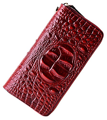 PIJUSHI Women's Embossed Crocodile Genuine Leather Wallet Clutch Purse 1058 (Dark Red Croco) (Croco Embossed Leather)