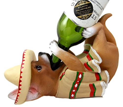 Atlantic Collectibles Adorable Mexican Chihuahua Poncho Sombrero Decorative Wine Bottle Holder Rack Figurine