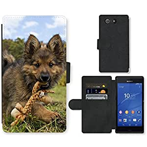 PU Cuir Flip Etui Portefeuille Coque Case Cover véritable Leather Housse Couvrir Couverture Fermeture Magnetique Silicone Support Carte Slots Protection Shell // V00000849 Patrón del perro de perrito // Sony Xperia Z4 E6553