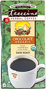 Teeccino Chocolate Organic Chicory Herbal Tea Bags, Caffeine Free, Acid Free, 25 Count