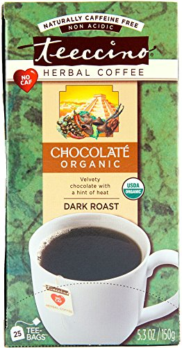 Teeccino Chocolate Organic Chicory Herbal Tea Bags, Caffeine Undo, Acid Free, 25 Count