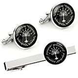 Kooer White Tree Cufflinks For Tree of Life Custom Personalized Cuff Links Wedding Cufflinks Tie Clip Set (Silver plated cufflinks tie clip set)