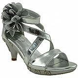 Kids Dress Sandals Rhinestone Flower Embelli Back Zipper Girls High Heels Platform