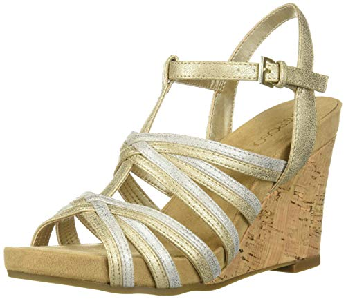 Aerosoles Women's Right Plush Wedge Sandal, Metallic Combo, 7.5 M US