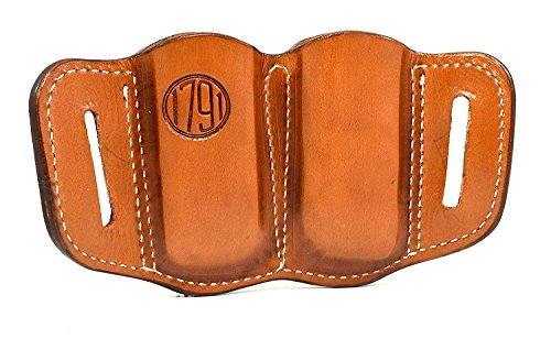 1791 Gunleather 2.1 Mag Holster - Double Mag Pouch for SINGLE STACK Mags, OWB Magazine Pouch for belts - Classic Brown