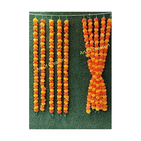 Artificial Marigold Flower Garland Strings (Pack of 10) Orange & Yellow Mix Color,Perfect for Diwali Pooja Decoration, Anniversary Party, Wedding, Housewarming Decoration, 10 Strings of 5 feet Long