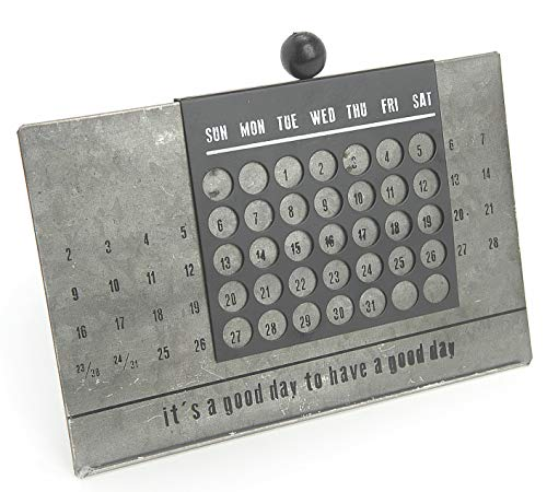 (Small Metal Perpetual Calendar for Farmhouse Office Decor, 9.5