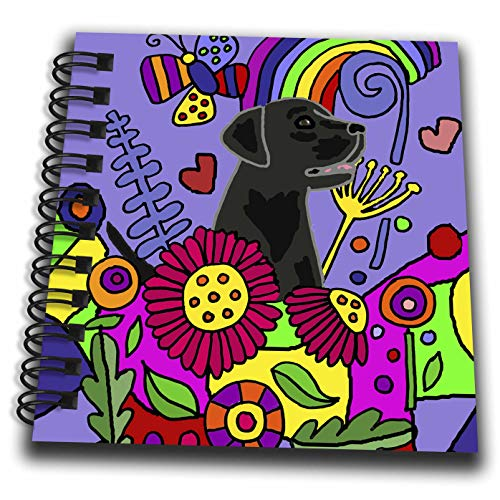 Labrador Notepad - 3dRose All Smiles Art - Pets - Cool Funny Cute Black Labrador Retriever in Flower Garden Abstract Art - Mini Notepad 4 x 4 inch (db_299880_3)