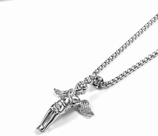 HAMANY Necklace,Mens Necklace,Fashion Necklace Personality Love Wings Titanium Steel Pendant Nightclub Hipster Fashion Necklace