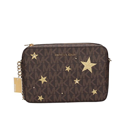 MICHAEL Michael Kors Illustration Women's Jet Set Travel Xbody Leather Bag Clutch Wallet (Brown/gold) by MICHAEL Michael Kors