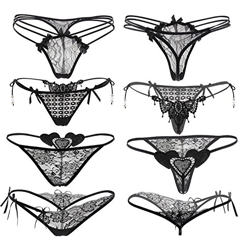 - Nightaste Women's Black Lace Thong Attractive G-string Panties(4 Styles) (M, Black)