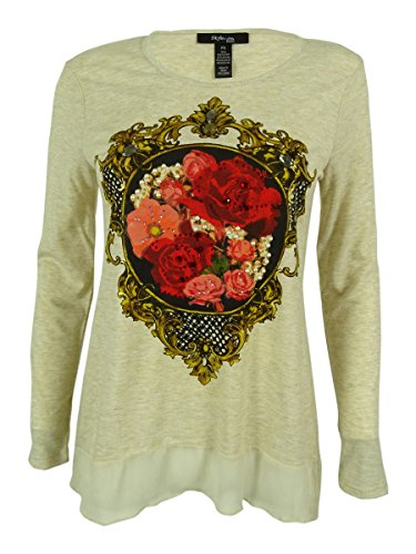 Style & Co. Women's Floral Print Embellished Long Sleeve Top (PS, Rose (Style & Co Woman Floral Print Top)
