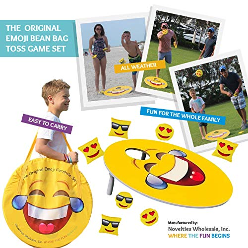 TheGag Cornhole Game for Kids Set-Bean Bag Toss Kids Children Family Party Fun 2 Emoji Boards 8 Emoji Bean Bags Carry Case Great Gift for Easter! Cornhole Indoor/Outdoor by TheGag (Image #7)