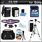 32GB Accessory Kit For Sony DCR-SX45 Handycam Camcorder Includes 32GB High Speed SD Memory Card + Replacement (2300Mah) NP-FV70 Battery + Ac / DC Charger + Deluxe Case + Tripod + 3PC Filter Kit (UV-CPL-FLD) + USB 2.0 SD Reader + More