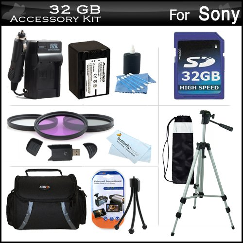 32GB Accessory Kit For Sony DCR-SX45 Handycam Camcorder Includes 32GB High Speed SD Memory Card + Replacement (2300Mah) NP-FV70 Battery + Ac / DC Charger + Deluxe Case + Tripod + 3PC Filter Kit (UV-CPL-FLD) + USB 2.0 SD Reader + More by ButterflyPhoto
