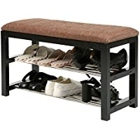 2-Tier Wooden Shoe Rack Storage Organizer / Entryway Cushioned Bench with Metal Shelves