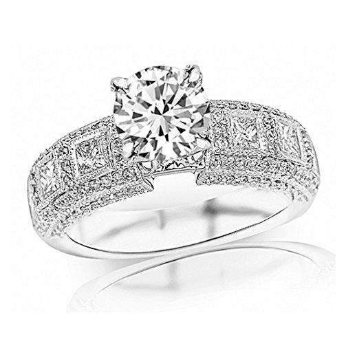 CTW Exquisite Bezel Set Princess Cut And Pave Set Round Diamond Engagement Ring w/3.7 Ct GIA Certified Round Cut D Color VS2 Clarity Center (Pave Diamond Bezel)