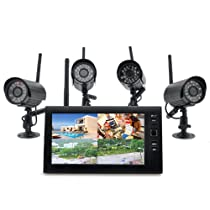 Wireless Home Security Camera System Securial - 4x Indoor Wireless Cameras, 7 Inch Wireless Monitor, Built-in DVR