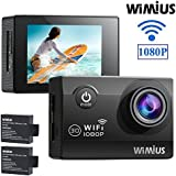 WIMIUS Q2 Action Camera HD 1080P WiFi 12MP 30M Underwater Waterproof Sports Camera,170 Degree Wide Angle, 2.0 LCD Screen, 2 PCS Batteries (Black)