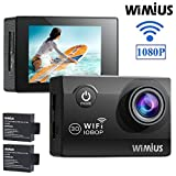 WIMIUS Q2 Action Camera WiFi HD 1080P 30M Waterproof Sports Camera 12MP, 170 Degree Wide Angle, 2.0' LCD Screen, 2 PCS Batteries(SD Card Exclude-black)