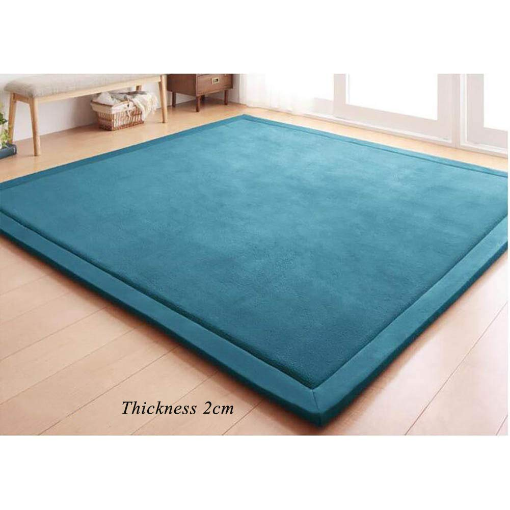 DM&FCS Japanese Floor Futon Mattress Pad, Not-Slip Baby Toddler Kid Play Mat Tatami Sleeping Mat Velvet Carpet Crawling Mat Yoga Mat-Blue 200x200cm(79x79inch) by DM&FCS