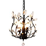 LuFun Modern Crystal Chandeliers,Crystal Pendant Light,Chandelier Lighting Fixtures,Ceiling Light for Living Room Bedroom Restaurant Hallway (Black)