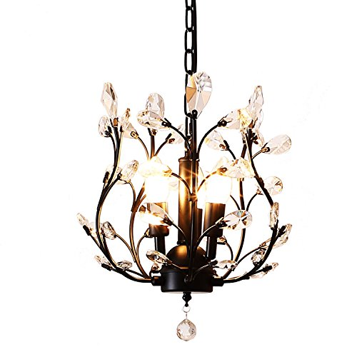 Black Pendant Light With Crystals in US - 5