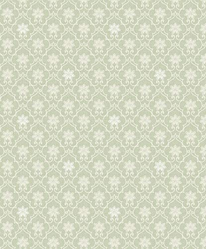 Advantage 2813-SA1-1093 Heston Light Green Trellis Wallpaper