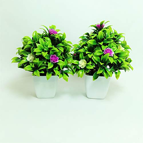 Tumphu Panda Set of 2 Mini Cute Artificial Plants Bonsai Potted Plastic Faux Green Grass with White Flower Fake Topiaries Shrubs for Home Decor, Washroom and Office Decor (5X5X6 cm) (Purple-White) (B07R1RQZ6B) Amazon Price History, Amazon Price Tracker