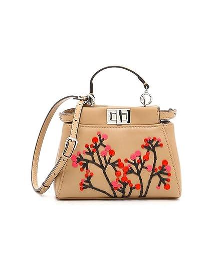 bad94f5ebe Fendi Women's 8M0355sgbf06qt-Mcf Beige Leather Handbag: Amazon.co.uk:  Clothing