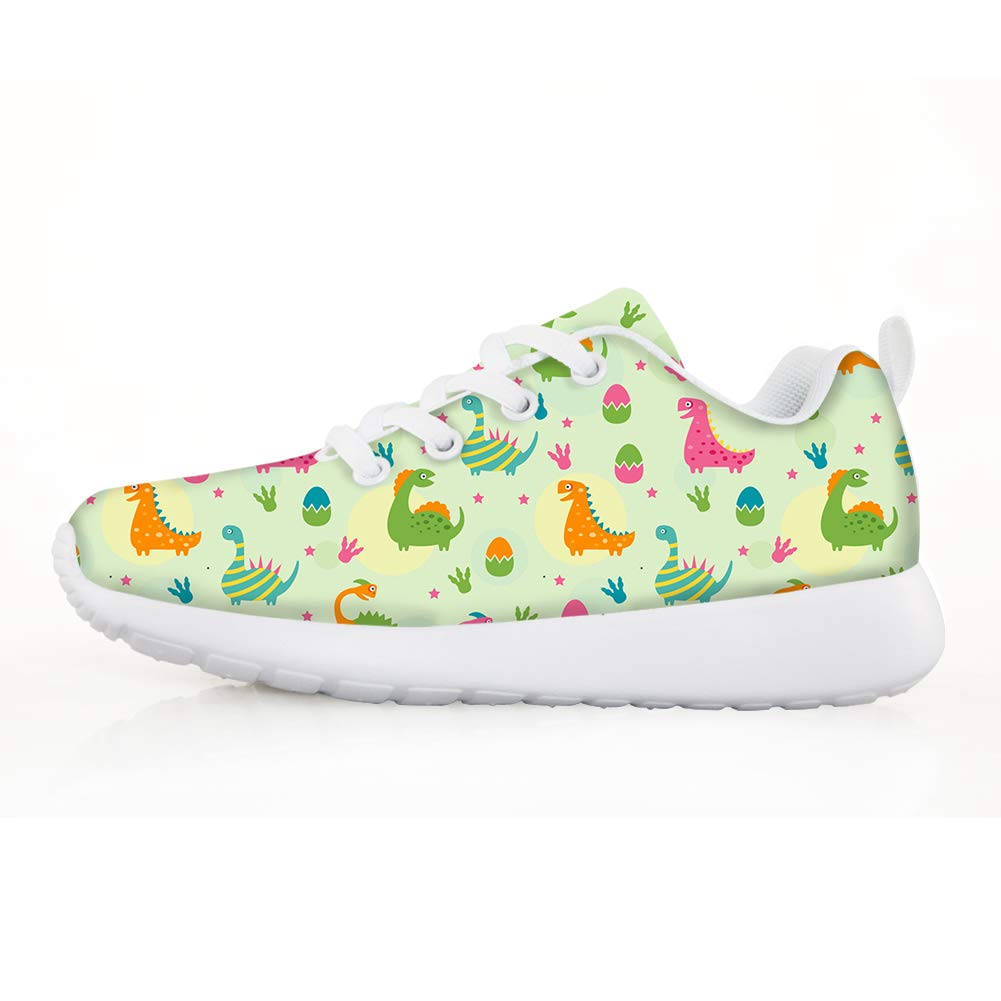 Owaheson Boys Girls Casual Lace-up Sneakers Running Shoes Jurassic Dinosaur Gathering