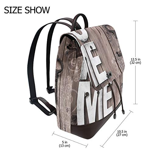Träbokstäver heminredning nyckelringar ryggsäck handväska mode PU-läder ryggsäck ledig ryggsäck för kvinnor