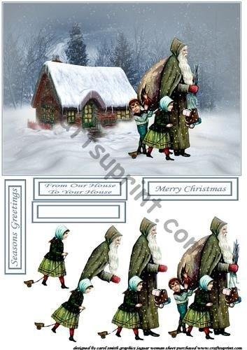 Vintage Santa at the Cottage decoupage by Carol Smith Craftsuprint