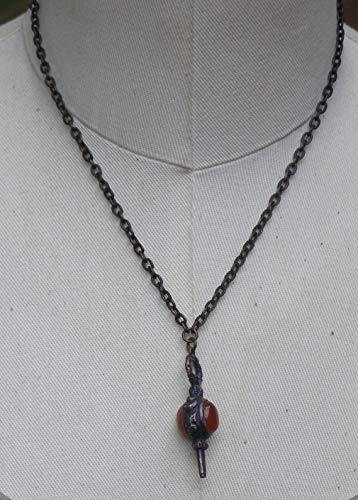 - Vintage Style Watch Fob Carnelian Cornelian Gemstone Pendant Necklace