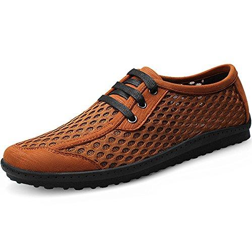 Comfort Shenn Uomo Traspirante Sintetico Casuale Allacciare Scarpe Moda Marrone Sneaker 7fFqwr7xt
