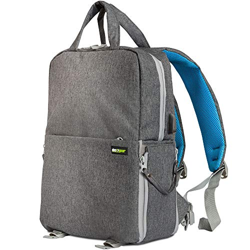 Deco Gear Multifunction Camera Backpack for Canon, Nikon, Sony SLR/DSLR & Mirrorless Cameras, Lenses, and Accessories w/Rain Cover (Gray) ()