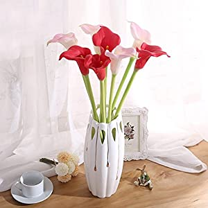 AerWo 10 Stem Calla Lily Flower Bouquet Real Touch Decorative Artificial Flower Wedding Party Festival Decor (Mint Green) 5