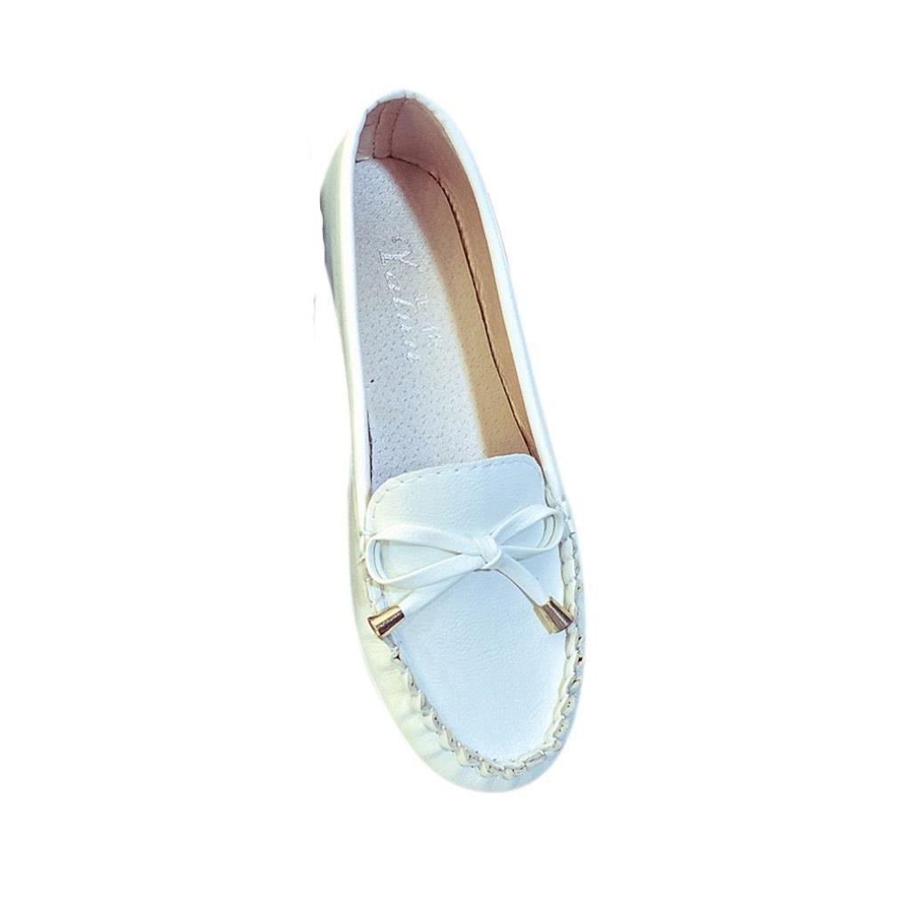 Mocassins Femmes, QinMM Mode Flats Printemps 19999 Eté En Blanc Cuir Souple Flats chaussures, Casual Noeud papillon confort gliss Flat Blanc b87f28e - automatisms.space