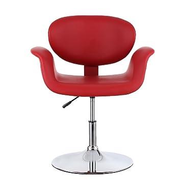 IKAYAA Chaise De Coiffure En PU Cuir Rglable Ergonomique Moderne Salon Tabouret