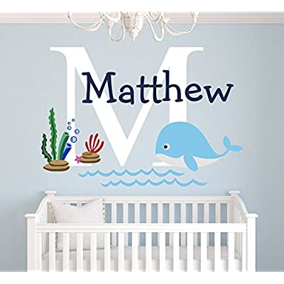 Personalized Whale Name Wall Decal - Whale Room Decor - Nursery Wall Decals - Nautical Wall Decals - Whale Vinyl Sticker for Boys: Baby