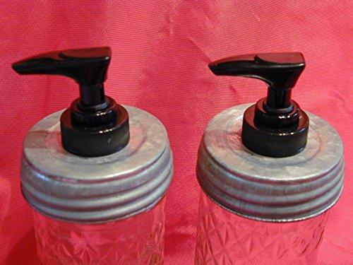 Galvanized Lid with Black Pump Double Pack - Mason Jar Lotion/Soap dispenser Converter, Lid & Pump