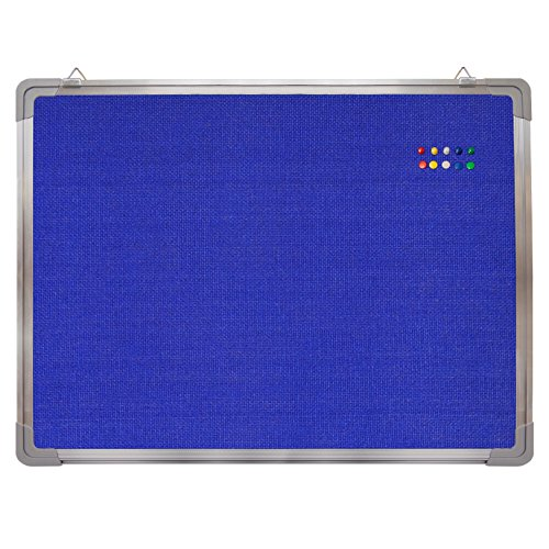 "Bulletin Board Set - Felt Tack Board 24 x 18"" + 10 Color Push Pins - Small Wall Hanging Message Memo Mini Display Board with Aluminium Frame for Home Office Cubicle School Kids (Blue Fabric 24x18"")"