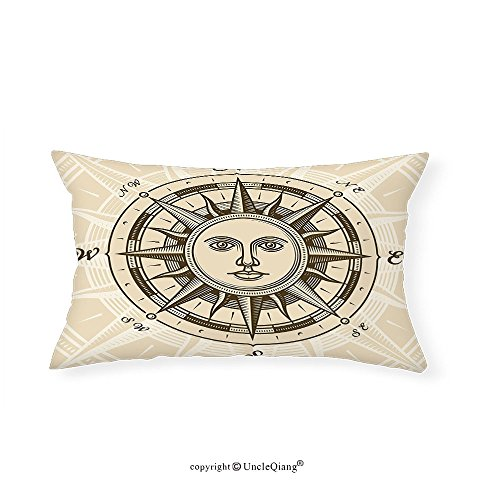 VROSELV Custom pillowcasesCompass Decor Collection Vintage Compass Rose with Sun Shape Human Face Historic Decorating Illustration Bedroom Living Room Dorm Beige - Face Audrey Hepburn Shape