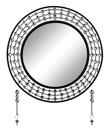 Swarovski Wall Mirror - GIFTS PLAZA (D) Round Silver and Black Wall Mirror with Key Chain Hooks and Swarovski Decor