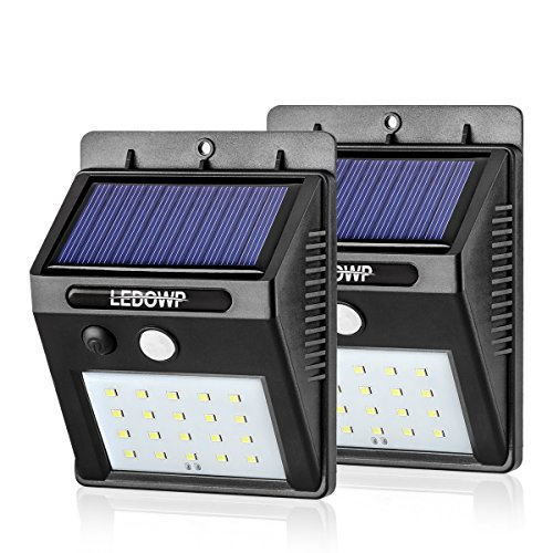 Solar Lights Outdoor 20 LEDs, LEDOWP Super Bright Motion Sensor Lights with Wide Angle Illumination, Waterproof...