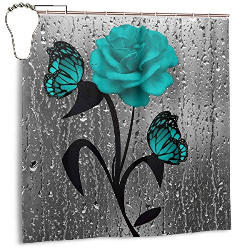 Amonee-YL Teal Gray Rose Flower Butterflies Bath Polyester Fabric Shower Curtain Sets with 10 Hooks,Modern Bathroom Home Decor (Shower Black Green And Curtain)