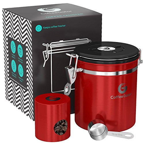 Coffee Gator Stainless Steel Coffee Canister with CO2 Valve, Scoop and eBook