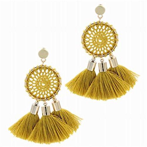 7 Colors Nets Weaving Bohemia Tassels Earrings Women Beach Jewelry Long Dangle Drop Earrings Brincos Yellow