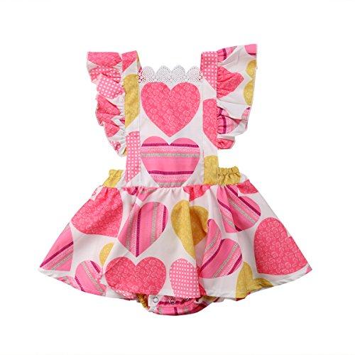 Glosun Baby Girls Dress Lace Collar Ruffle Sleeve Romper Summer Tutu Dress (6-12 Months)